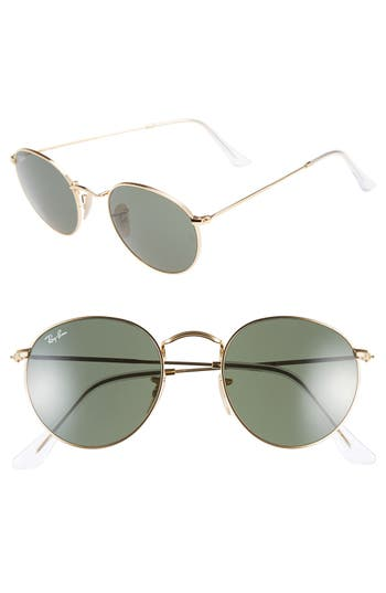 Women's Ray-Ban Icons 50Mm Round Metal Sunglasses - Gold/ Green