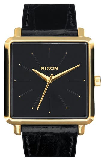 Women's Nixon 'The K Squared' Leather Strap Watch, 32Mm X 30Mm