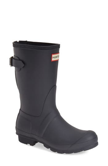 Hunter Original Short Back Adjustable Rain Boot, Blue