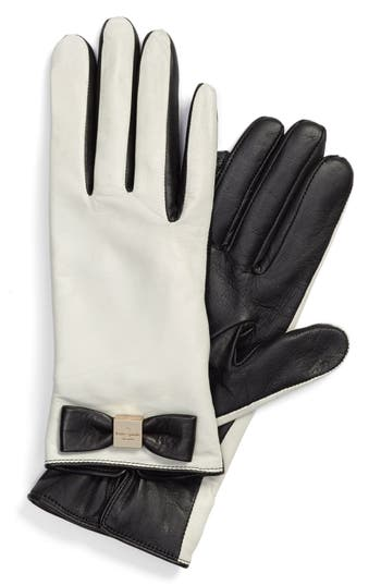 Women's Kate Spade New York 'Bow Logo' Gloves, Size X-Large - Ivory