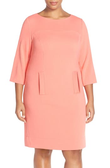 Plus Size Vintage Dresses, Plus Size Retro Dresses Plus Size Womens Eliza J Pocket Detail Shift Dress Size 20W - Orange $76.80 AT vintagedancer.com