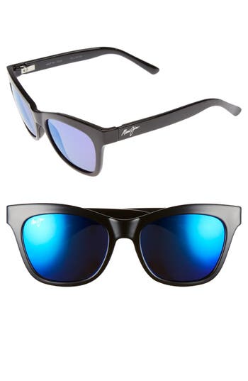 Women's Maui Jim Sweet Leilani 53Mm Polarizedplus2 Cat Eye Sunglasses - Gloss Black/ Blue Hawaii