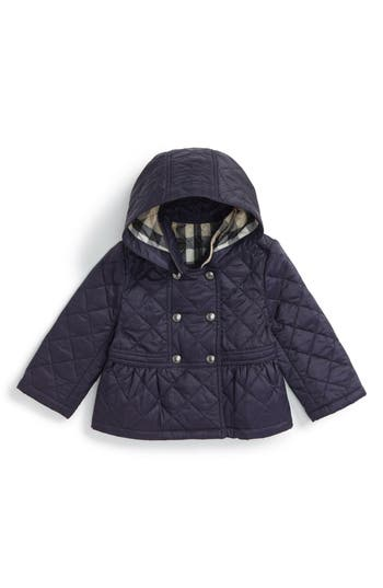 Infant Girl's Burberry 'Portree' Hooded Quilted Jacket