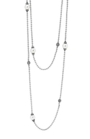 Women's Lagos 'Luna' Double Strand Pearl Station Necklace