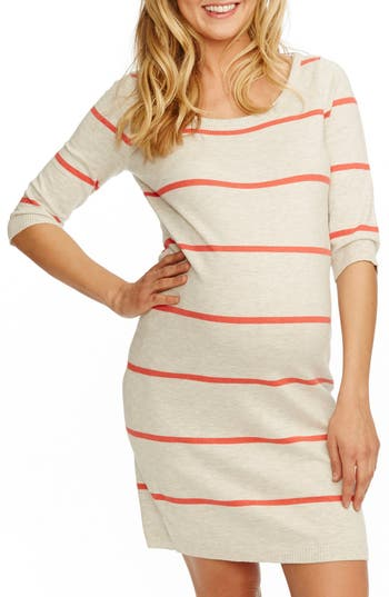 Women's Rosie Pope 'Harper' Stripe Maternity Sweater Dress, Size Large - Ivory