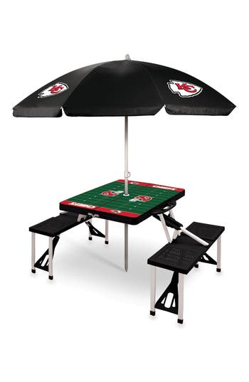 Picnic Time Team Football Field Design Portable Picnic Table With Umbrella, Size One Size - Black