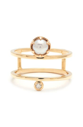 Women's Anna Sheffield 'Reverse Attelage' Double Band Pearl & Diamond Ring