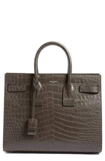 Saint Laurent 'Small Sac De Jour' Croc Embossed Leather Tote - Grey