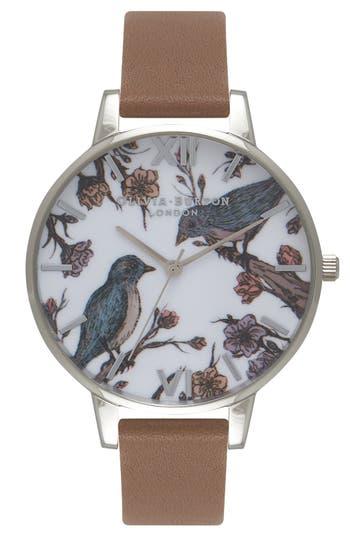 Women's Olivia Burton 'Animal Motif' Leather Strap Watch, 38Mm