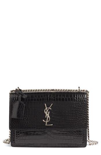 Saint Laurent 'Medium Monogram Sunset' Croc Embossed Leather Shoulder Bag - Black