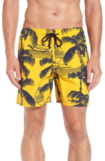 Men's Vilebrequin Palm Trees Print Swim Trunks, Size Small - Orange