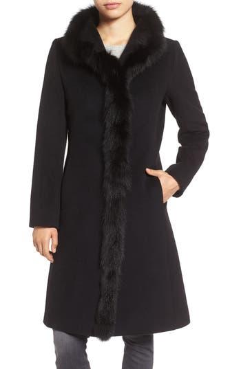 Women's Cinzia Rocca Icons Genuine Fox Fur Trim Wool Coat