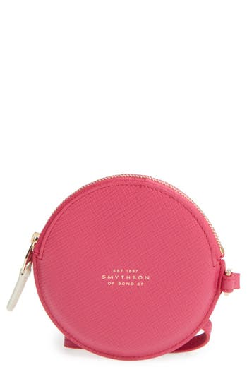 Women's Smythson Circle Leather Coin Purse - Pink