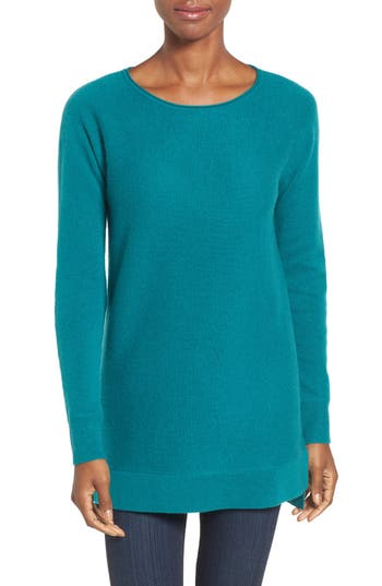 Women's Halogen High/low Wool & Cashmere Tunic Sweater, Size X-Small - Blue/green