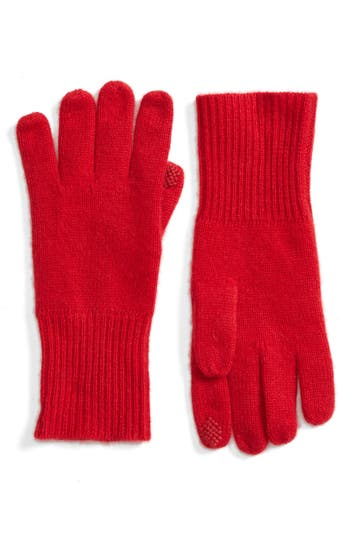 Women's Halogen Rib Knit Cashmere Gloves, Size One Size - Red