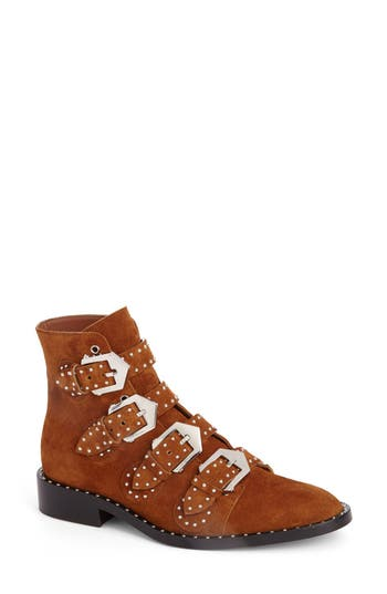 Women's Givenchy Prue Buckle Bootie, Size 10.5US / 40.5EU - Brown