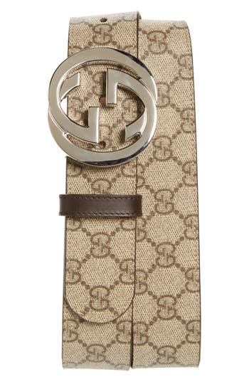 Men's Gucci Logo Buckle Belt, Size 80 EU - Brown