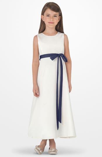 Toddler Girl's Us Angels Sleeveless Satin Dress, Size 4T - Blue