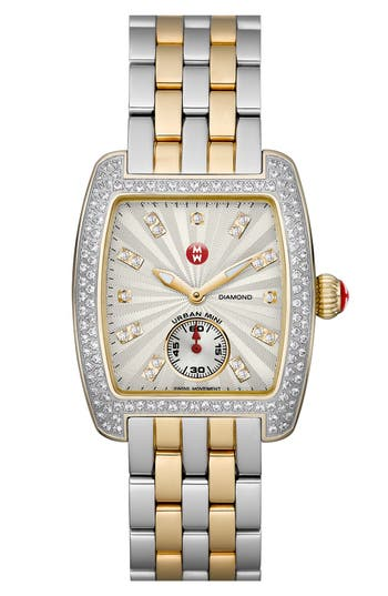 Women's Michele Urban Mini 16Mm Two-Tone Bracelet Watchband