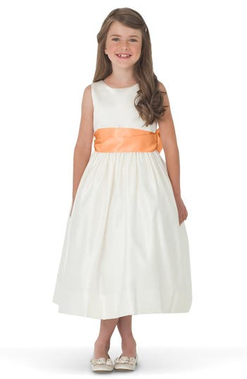 Girl's Us Angels Sleeveless Satin Dress With Contrast Sash, Size 4 - Orange