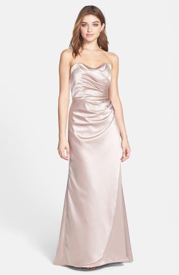 Women's Dessy Collection Strapless Matte Satin Trumpet Dress