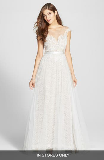Women's Watters Farah Tulle, Lace & Charmeuse Gown