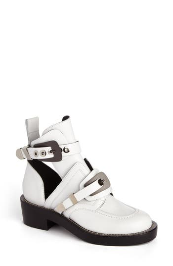 Women's Balenciaga Cutout Buckle Boot, Size 6US / 36EU - White