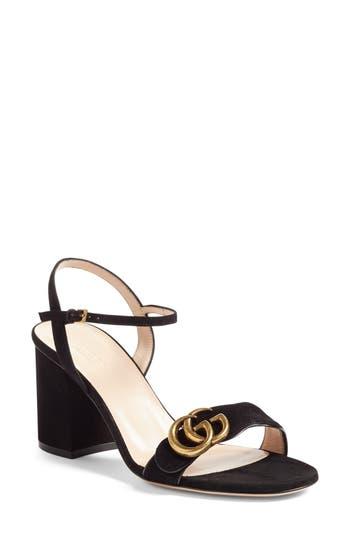Gg Marmont Sandal, Black Suede