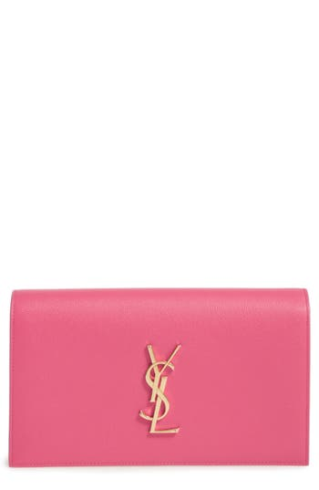 Saint Laurent 'Monogram' Leather Clutch -