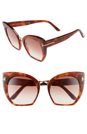 Tom Ford Samantha 55Mm Sunglasses - Blonde Havana/ Gradient Brown