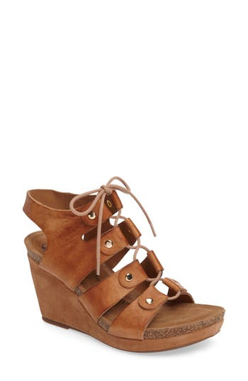 Women's Sofft Carita Lace-Up Wedge Sandal, Size 7.5 M - Brown