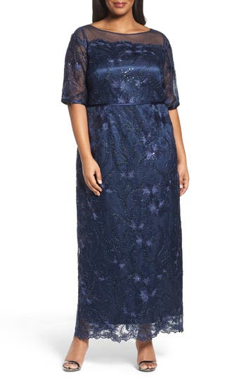 Plus Size Vintage Dresses, Plus Size Retro Dresses Brianna Embellished Gown Size 22W - Blue $124.80 AT vintagedancer.com