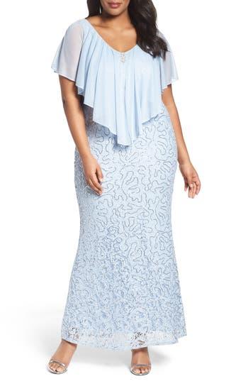 Plus Size Retro Dresses Plus Size Womens Marina Chiffon Capelet Sequin Lace Gown Size 22W - Blue $199.00 AT vintagedancer.com