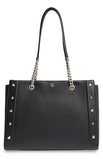 Mcm Large Catherine Leather Tote - Black