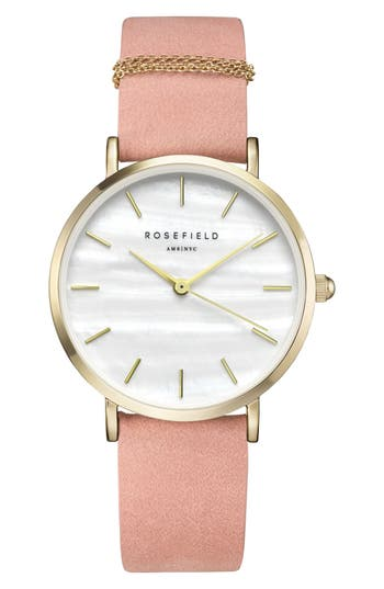 Women's Rosefield West Village Leather Strap Watch, 33Mm