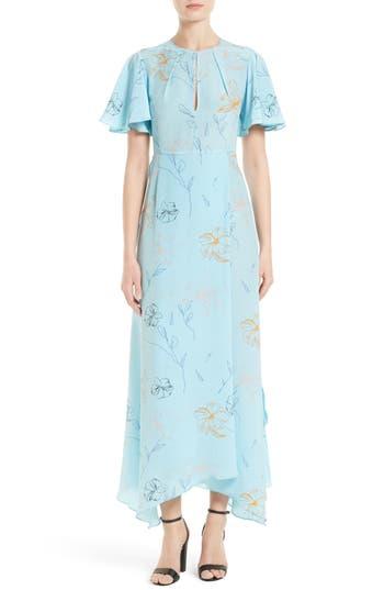 1930s Style Fashion Dresses Womens Diane Von Furstenberg Flutter Sleeve Print Silk Maxi Dress Size 4 - Blue $219.20 AT vintagedancer.com