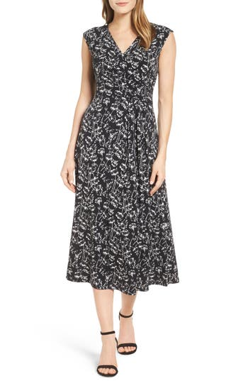 Women's Chaus Stencil Blooms Faux Wrap Midi Dress