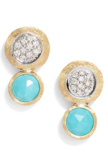 Women's Marco Bicego Jaipur Diamond & Turquoise Stud Earrings