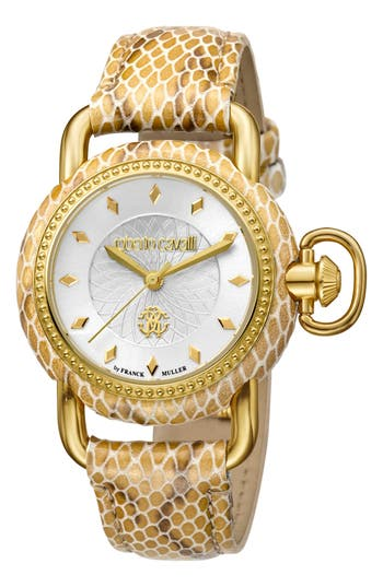 Women's Roberto Cavalli By Franck Muller Snake Leather Strap Watch, 36Mm