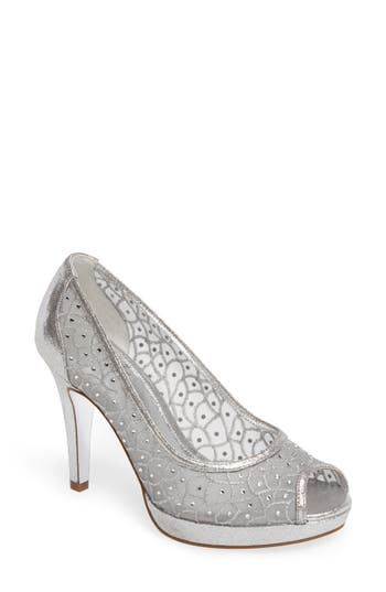 Vintage Inspired Wedding Dress | Vintage Style Wedding Dresses Womens Adrianna Papell Foxy Crystal Embellished Peeptoe Pump Size 9 M - Metallic $139.95 AT vintagedancer.com