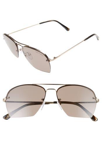 Women's Tom Ford Whelan 58Mm Aviator Sunglasses - Rose Gold/ Brown/ Horn Brown