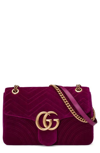 Gucci Medium Gg Marmont 2.0 Matelasse Velvet Shoulder Bag - Pink