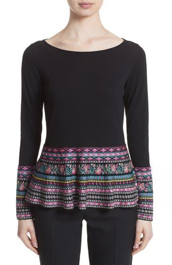 Women's Etro Peplum Sweater, Size 12 US / 48 IT - Black