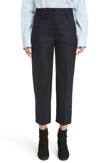 Women's Acne Studios Trea Pinstripe Straight Leg Wool Pants
