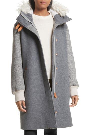 Women's Rag & Bone Laporta Genuine Shearling Trim Wool Blend Hooded Coat
