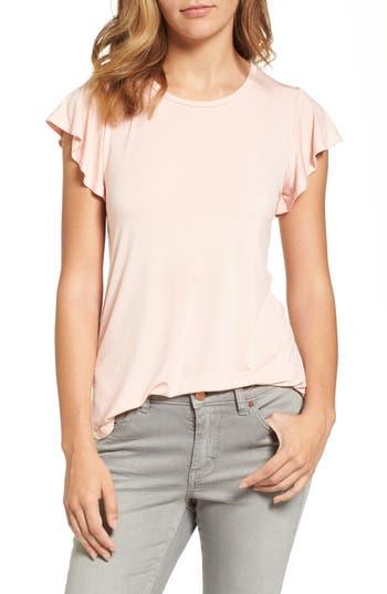 Women's Bobeau Flutter Sleeve Tee, Size Large - Pink