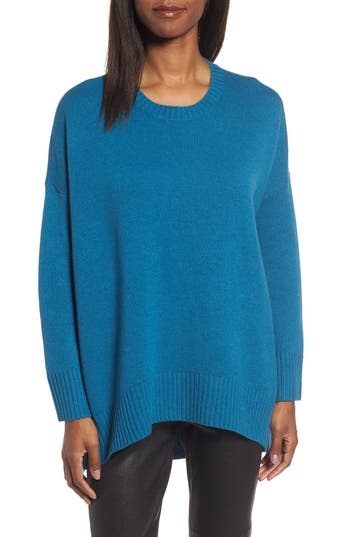 Women's Eileen Fisher Cashmere & Wool Blend Oversize Sweater, Size Small/Medium - Blue/green