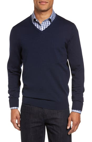 Big & Tall Nordstrom Shop V-Neck Merino Wool Sweater - Blue