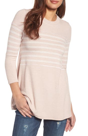 Women's Caslon Stripe Panel Sweater, Size X-Large - Pink