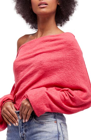 Free People Skyline Thermal Off The Shoulder Tee, Red